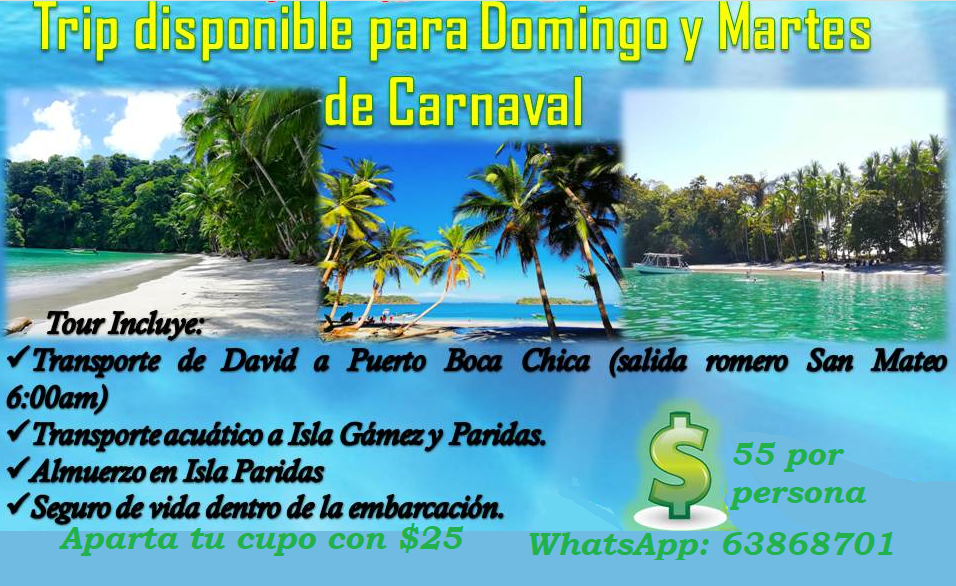 Special Carnival Tour Gulf of Chiriqui 2019